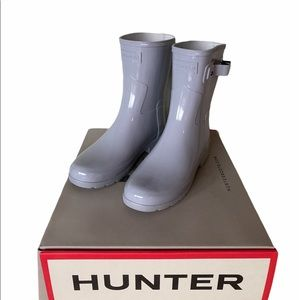 Hunter Light Gray Refined Short Gloss Rain Boot